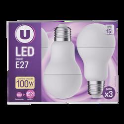 Led U, ronde, 100w, e27, plastique, lumière chaude, 3 unités