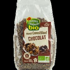 Terres et Céréales Bio Muesli Croustillant Bio Au Chocolat Terre & Cereales, Paquet De 500g