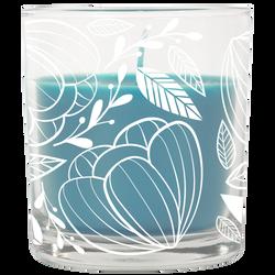 Bougie parfumée dans un verre 74x83mm UMAISON grise bleue-thèmebosquet nature-décor fleurs blanches-parfum fraîcheur végétale