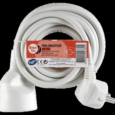 Cordon de rallonge électrique BIEN VU, 5m, 16A, blanc