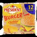 Président Fromage Fondu Au Lait Pasteurisé Burger'emmental Cheddar 17%,, 12 Tranchettes, 200g