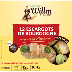 12 escargots bourgogne très gros alsacienne WILLM, 125g