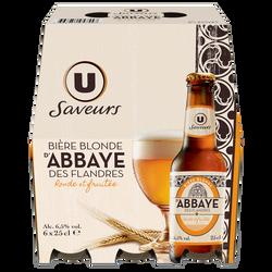 Bière blonde d'Abbaye des Flandres U SAVEURS, 6,5°, 6x25cl