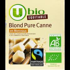 Sucre blond pure sucre de canne en morceaux equitable U BIO, paquet de500g