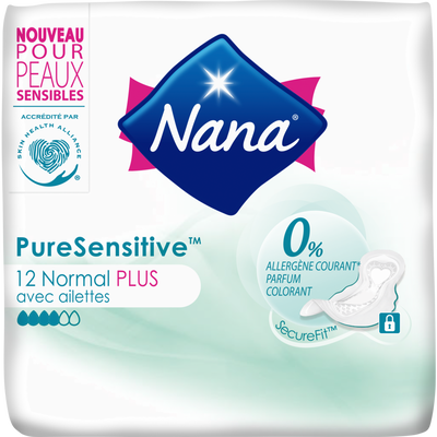 Serviettes pure sensitive normal+ avec ailettes 0% allergène NANA, x12