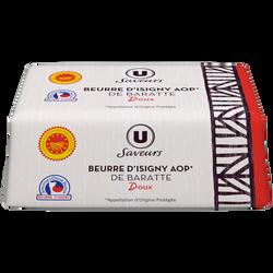 Beurre d'Isigny AOP doux moulé U SAVEURS, 82%mg, 250g