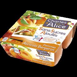 Compote sans sucre ajouté pomme abricot CHARLES & ALICE, 4x100g