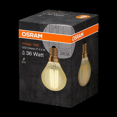 Ampoule led OSRAM, mini ronde, 34W E14, verre filament clair or, lumière chaude