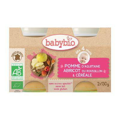 Pot Pomme Abricot Céréale BABYBIO dès 4 mois 2X130g