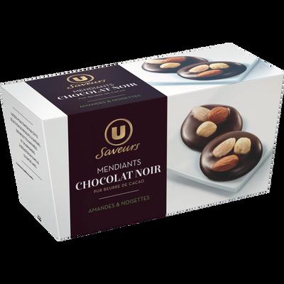 Mendiants au chocolat noir, amandes et noisettes U SAVEURS, 150g