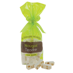 Dominos de nougat tendre 15% d'amandes sans gluten, sachet de 200g