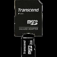 Carte mémoire Micro SD TRANSCEND, 2Go, TS2GUSD + adaptateur