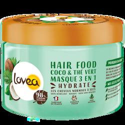 Masque 3 en 1 coco et thé vert pour les cheveux normaux à secs LOVEA,pot de 390ml