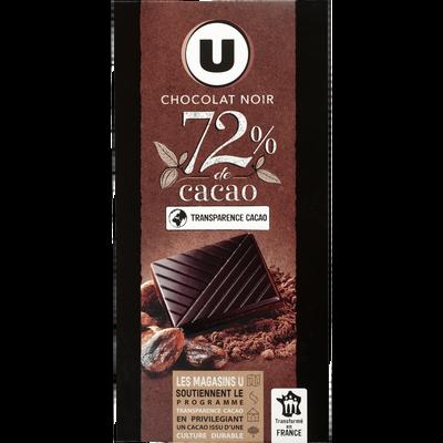 Tablette Chocolat noir 72% de cacao U,  100g