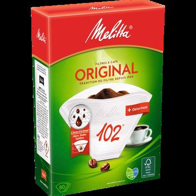 Filtres à café n°102 Original MELITTA, 80 unités + détartrant