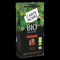 Café espresso délicat et fruité bio CARTE NOIRE, X10 soit 53g