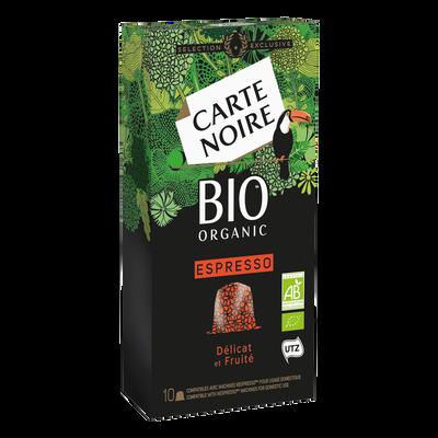 Café espresso délicat et fruité bio CARTE NOIRE, 10 capsules soit 53g