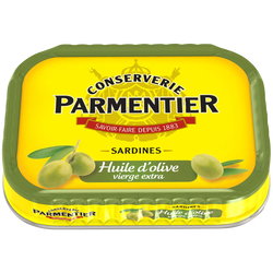 Sardines à l'huile d'olive vierge extra PARMENTIER, boite de 135g