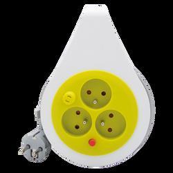 Mini enrouleur ultra compact 3 prises 16a 7m anis-cablé en hovv-f 3g1mm²