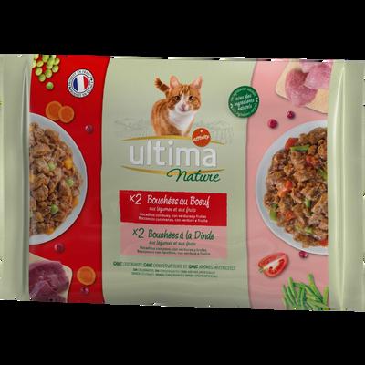 Bouchées pour chat au boeuf et à la dinde ULTIMA NATURE, 4 étuis de 85g