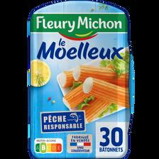 Surimi moelleux saveur crabe FLEURY MICHON, 30 bâtonnets, 500g