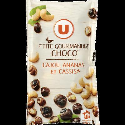 Snacking choco cajou ananas cassis U, sachet de 40g