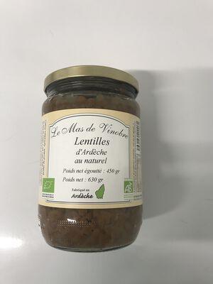 Lentille d'ardèche au naturel bio 630g Mas de Vinobre