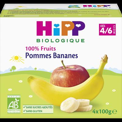 Compote infantile bio 100% Fruits pomme banane HIPP, dès 4 mois, 4x100g