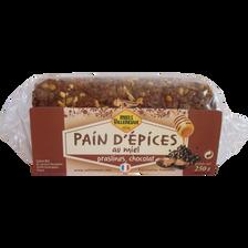 Pain d'épices au miel, 25% chocolat et pralinés MIELS VILLENEUVE, paquet de 250g