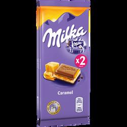 Chocolat au lait fourré de caramel fondant MILKA, 2x100g