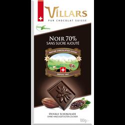 Tablette dégustation chocolat noir 70% sans sucre ajouté stévia VILLARS, 100g