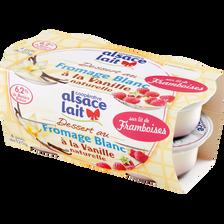 Fromage blanc à la vanille sur lit de framboises ALSACE LAIT, 6.2%MG,4x125g