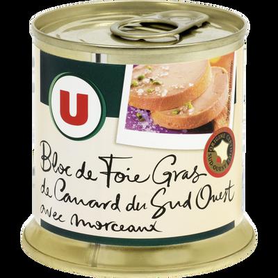 Bloc de foie gras de canard du Sud-Ouest IGP 30% morceaux U, boite enfer 200g