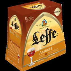 Bière ambrée ABBAYE DE LEFFE, 6,6°, pack 6x25cl