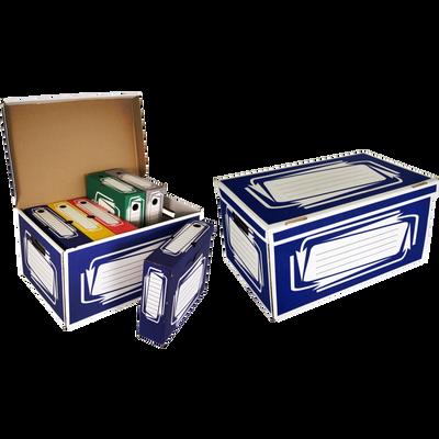 Container+6 boîtes archives en carton ondulé, dos 80mm, couleur