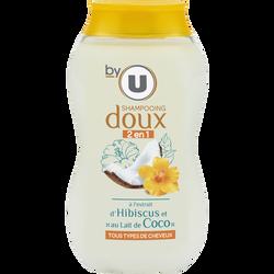 Shampoing 2en1 pour tous types de cheveux à l'hibicus et au lait de coco BY U, flacon de 250ml