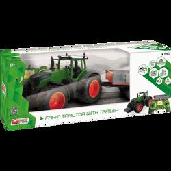 Tracteur agricole radiocommandé avec sa remorque
