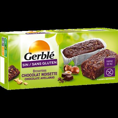 Brownie chocolat noisettes sans gluten GERBLE, boîte de 150g