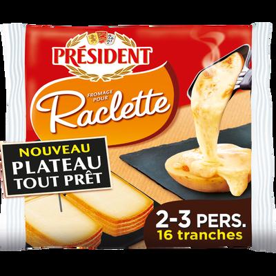 Fromage à raclette lait pasteurisé fondant & fruité 26% de MG PRESIDENT, 16 tranches soit 350g