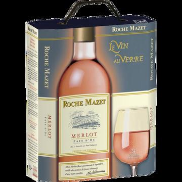 Roche Mazet Vin Rosé Igp Pays D'oc Merlot Roche Mazet, Fontaine À Vin De 3l