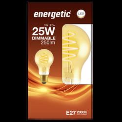 Led déco spirale 25w e27 doré ENERGETIC-A60-5w-250lm-2000k