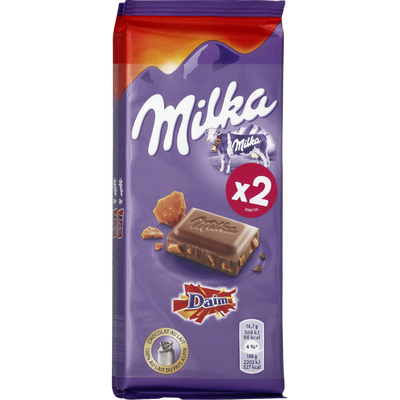 Chocolat au lait aux éclats de caramel Daim MILKA, 2x100g