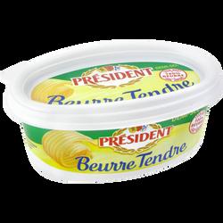 Beurre tendre demi-sel PRESIDENT, 80% de MG, beurrier de 250g