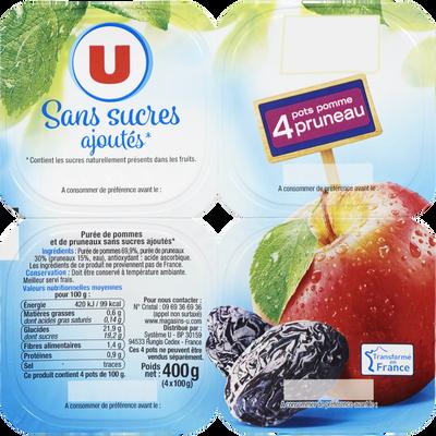 Coupelle purée pommes et pruneaux sans sucres ajoutés U, 4x100g