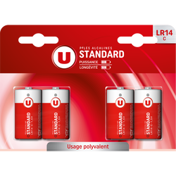 Piles U, Standard, LR14/C, 4 unités
