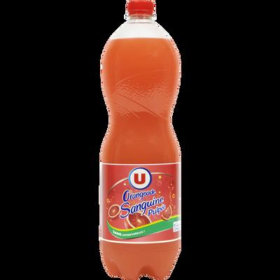 Boisson gazifiée aux jus d'oranges pulpés à base de concentrés avecsucre et édulcorant 1,5L