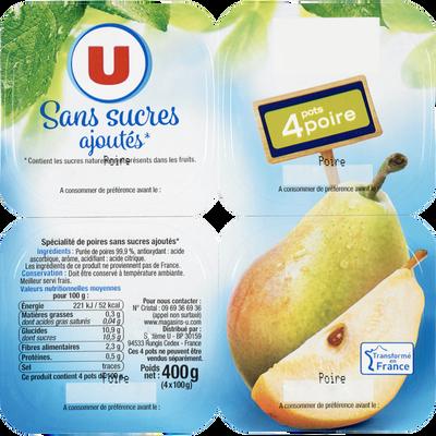 Coupelle sans sucres ajoutés poires U, 4 pots de 100g, 400g
