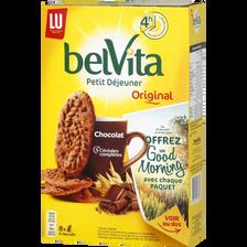 Biscuit chocolat et céréales Belvita Petit Déjeuner LU, paquet de 400g