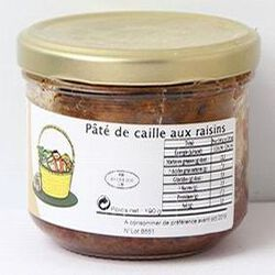 Pâté de cailles aux raisins, Atelier technologique, 190g