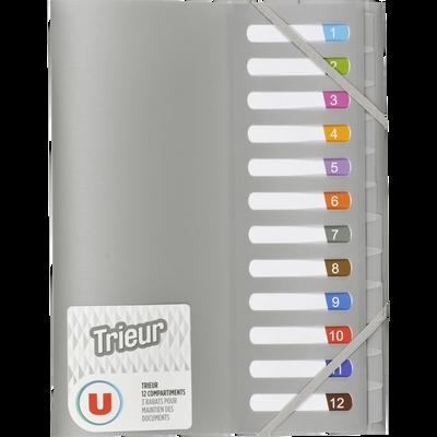 Trieur  U 12 compartiments, polypropylène métal/gris